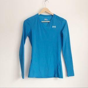 Under Armour Blue Heat Gear Shirt   Small
